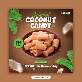 Mídia social de loja de doces postar modelo de design de banner