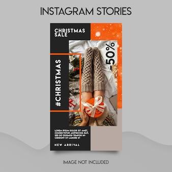 Mídia social de loja de feliz natal e modelo de histórias do instagram