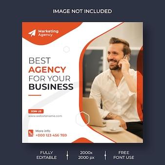 Mídia social de marketing digital e banner de modelo de postagem no instagram