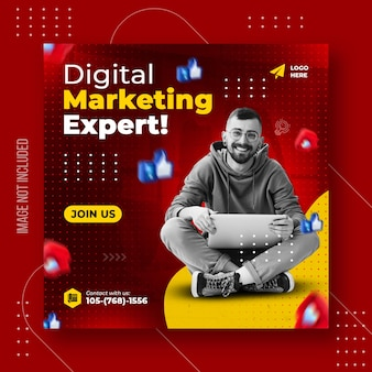 Mídia social de marketing digital e modelo de banner de mídia social