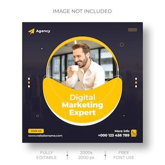 Mídia social de marketing digital e modelo de banner de postagem do instagram