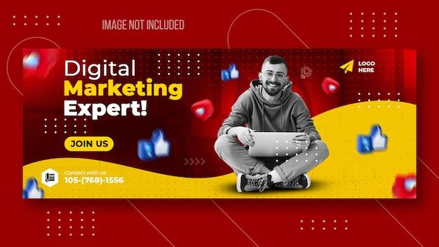 Mídia social de marketing digital e modelo de capa do facebook
