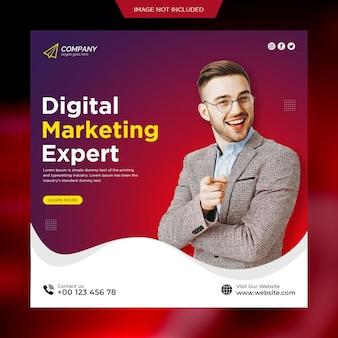 Mídia social de marketing digital e modelo de postagem no instagram ou banner da web