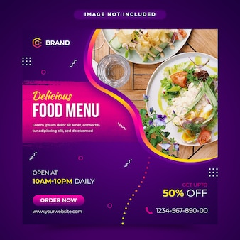 Mídia social de menu de comida deliciosa e modelo de banner da web