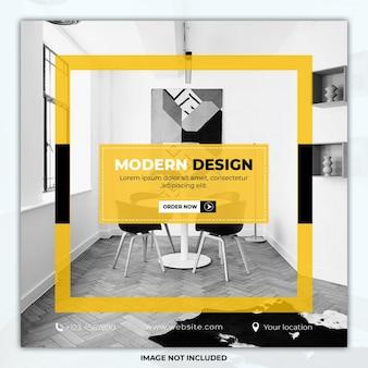 Mídia social de móveis de design moderno postar banner de modelo