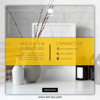Mídia social de móveis mínimos postar modelos de banner