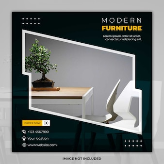 Mídia social de móveis modernos postar banner de modelo