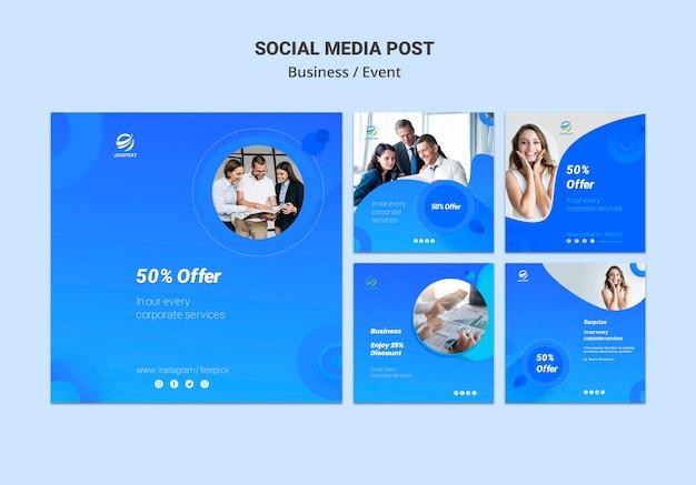 Mídia social de negócios postar conceito de modelo