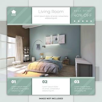 Mídia social de sala de mobiliário postar banner de modelo