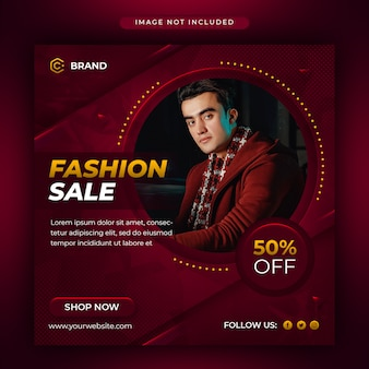 Mídia social de venda de moda moderna e modelo de banner da web