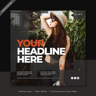 Mídia social de venda de moda postar modelo de banner