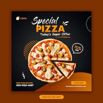 Mídia social de venda de pizza postar modelo de design de banner