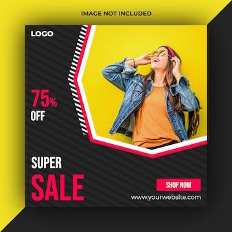 Mídia social de venda postar modelo de banner