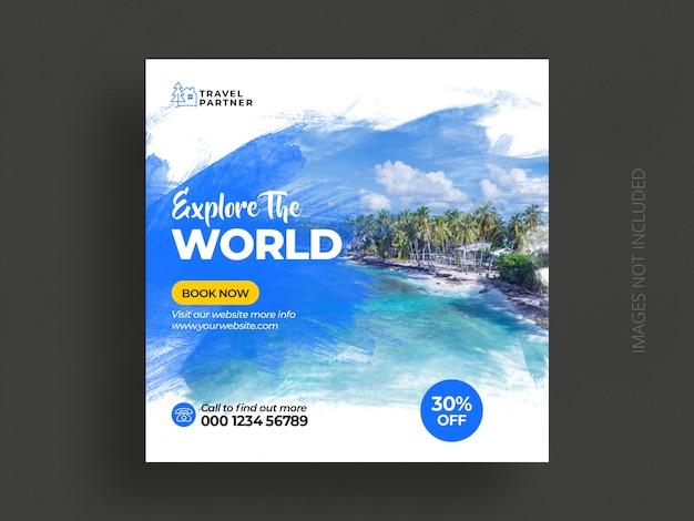 Mídia social de viagens postar modelo de banner ou excursão férias férias instagram post