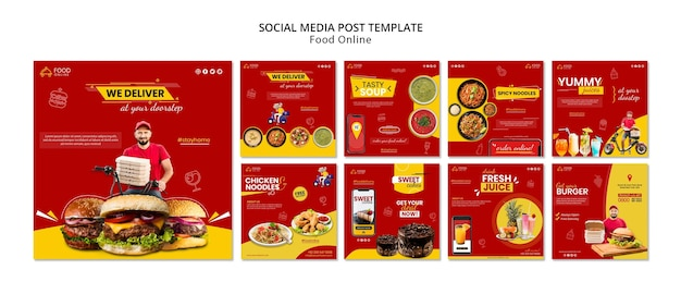 Mídia social do conceito de comida online postar mock-up