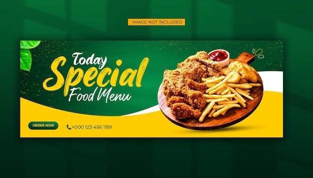 Mídia social do menu de comida especial e modelo de postagem de capa do facebook