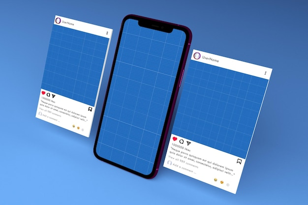 Mídia social e maquete de smartphone