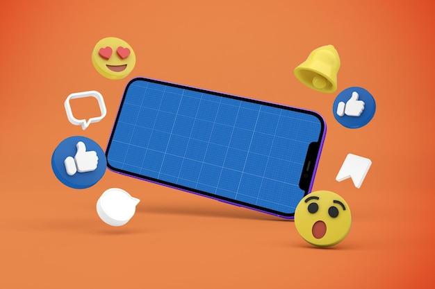 Mídia social e maquete de telefone