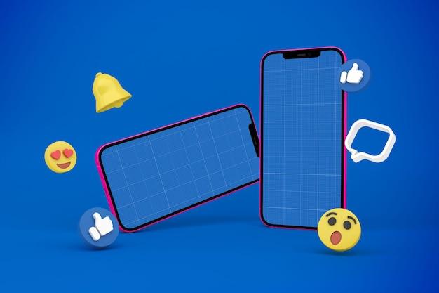 Mídia social e maquete v1 do telefone
