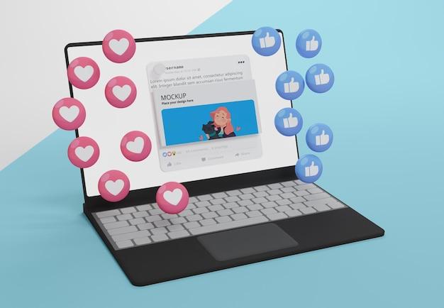 Mídia social em dispositivo mock-up