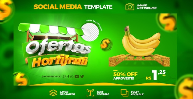 Mídia social hortifruti oferece promoção instagram banner post template 3d render premium psd