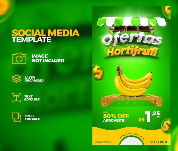 Mídia social hortifruti oferece promoção instagram histórias post template 3d render premium psd