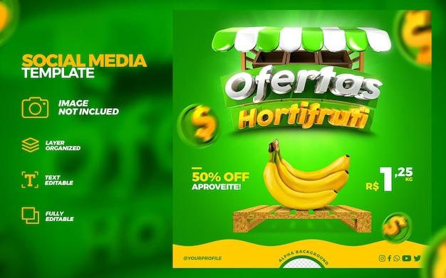 Mídia social hortifruti oferece promoção instagram post template 3d render premium psd