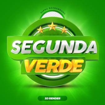 Mídia social hortifruti oferece rótulo de promoção da green monday 3d render com estrelas premium psd