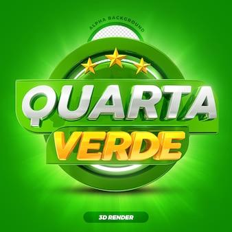 Mídia social hortifruti oferece rótulo de promoção da quarta-feira verde 3d render com estrelas premium psd