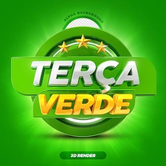 Mídia social hortifruti oferece rótulo de promoção da terça-feira verde 3d render com estrelas premium psd