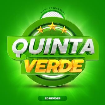 Mídia social hortifruti oferece rótulo de promoção de quinta-feira verde 3d render com estrelas premium psd