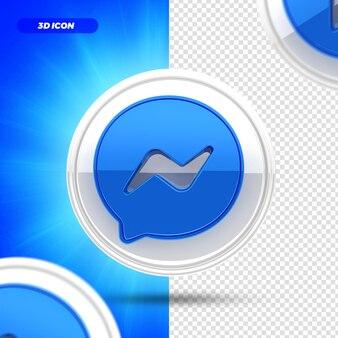 Mídia social ícone renderização 3d do facebook messenger isolado