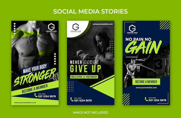 Mídia social instagram stories gym fitness template