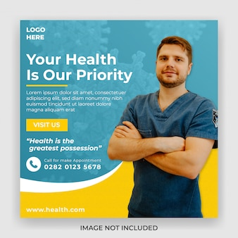 Mídia social médica postar modelo de banner