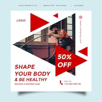 Mídia social moderna de academia e fitness alimenta design de promoção pós
