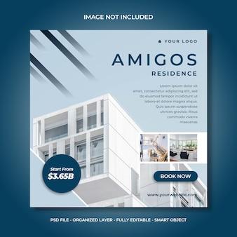 Mídia social ou modelo de banner quadrado para residência casa