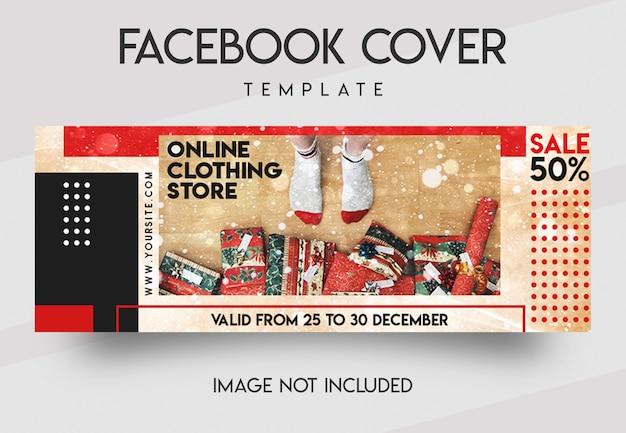 Mídia social para loja de festa de natal e modelo de capa do facebook