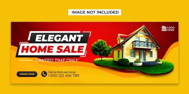 Mídia social para venda de casa e modelo de postagem de capa do facebook