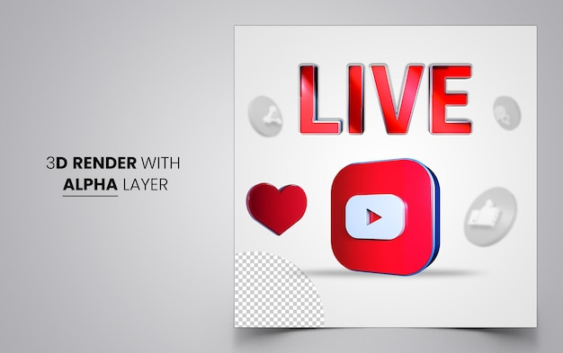 Mídia social pós-banner com formas 3d