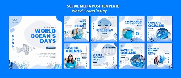 Mídia social pós dia do oceano