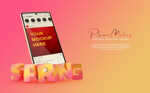 Mídia social pós-maquete do instagram no smartphone para o tema da primavera