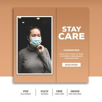 Mídia social post banner instagram template coronavirus stay care