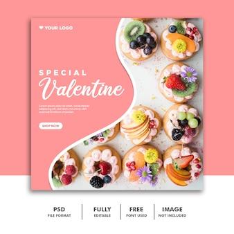 Mídia social post instagram valentine banner, rosa comida
