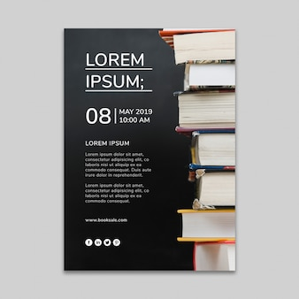 Mídia social post maquete com conceito de literatura