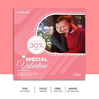 Mídia social post valentine banner instagram, casal rosa
