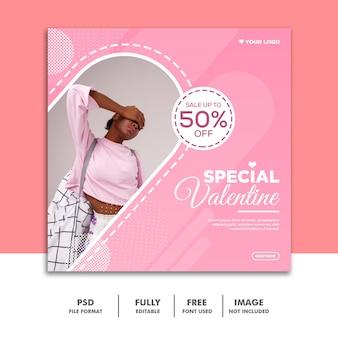 Mídia social post valentine banner instagram, menina rosa
