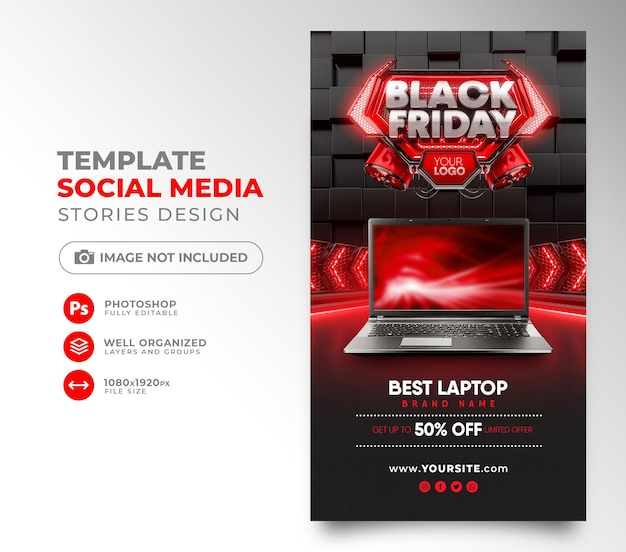Mídia social postar 3d render preto sexta-feira para instagram com super ofertas e promoções