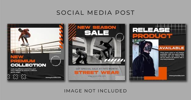 Mídia social postar coleção de moda streetwear