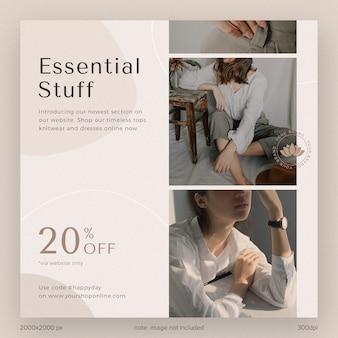 Mídia social postar coleção de modelos instagram material essencial catálogo de moda com forma e linha estéticas
