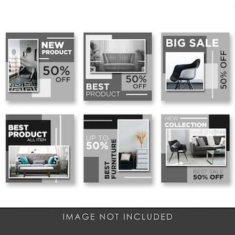 Mídia social postar em casa e mobiliário preto elegante coleção modelo